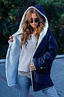 Женская джинсовая парка куртка на меху свободного кроя с капюшоном размер: 44-46, 48-50