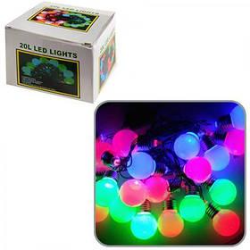 "Світлодіодна гірлянда HLV ""Лампочки цоколь"" 20 LED кольорова 3.5 м"