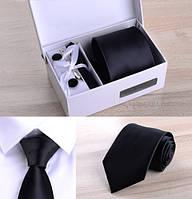 Подарочный набор: галстук 8 см запонки платок зажим коробка Черный GS687-2, фото 1