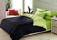 Двуспальный комплект. Черно-салатовое постельное постельное белье