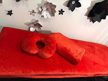 Комплект червоний: чохол, плед, подушка