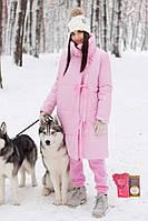 Женский стильный длинный пуховик-одеяло на завязках,розового цвета