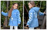 Детская джинсовая парка на меху джинсовая куртка с капюшоном  размер: 128, 134, 140, 146, 152, фото 4