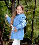 Детская джинсовая парка на меху джинсовая куртка с капюшоном  размер: 128, 134, 140, 146, 152, фото 6