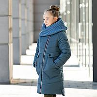 Зимове пальто на флісі на дівчинку з вязаним хомутом . Р-ри 134-152, фото 1
