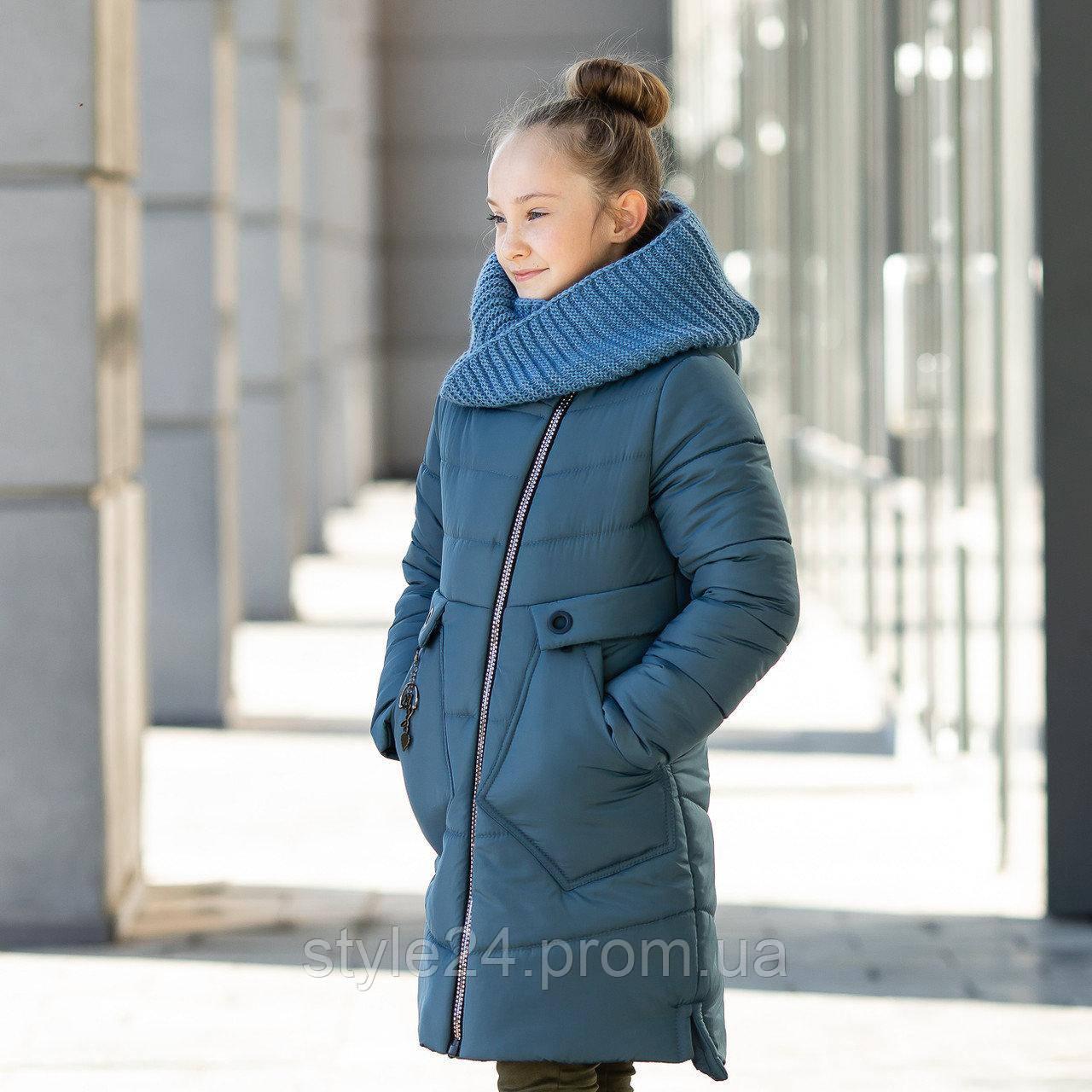 Зимове пальто на флісі на дівчинку з вязаним хомутом . Р-ри 134-152