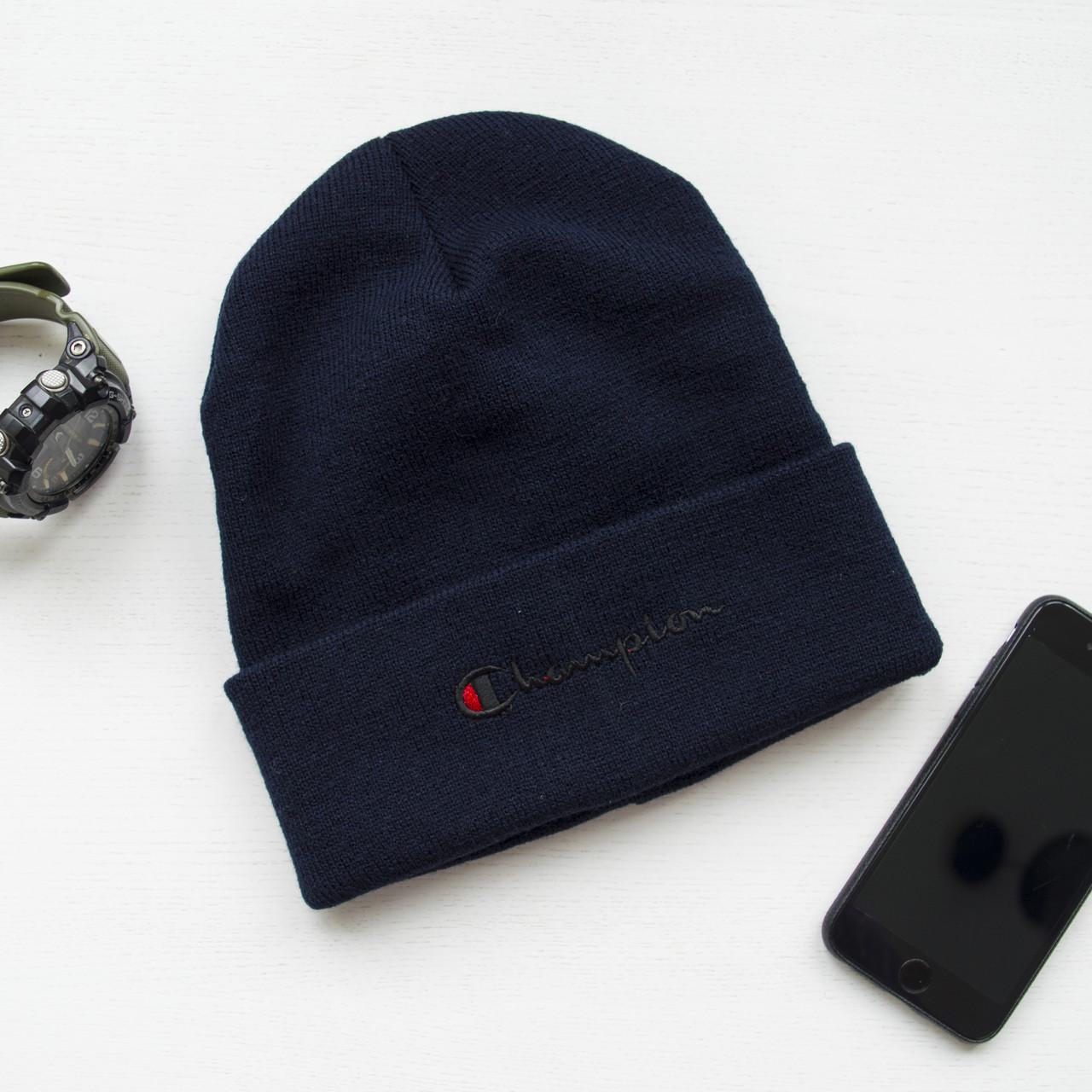 Зимова шапка синя унісекс Champion
