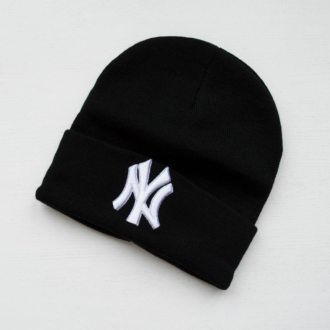 Зимова шапка чорна унісекс New York