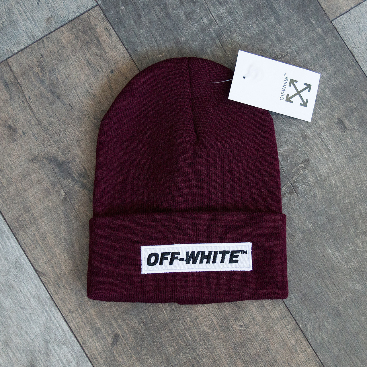 Зимова шапка бордо унісекс Off-white