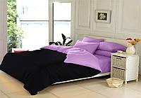 Двуспальный комплект. Черно-лиловое постельное постельное белье Простыня на резинке