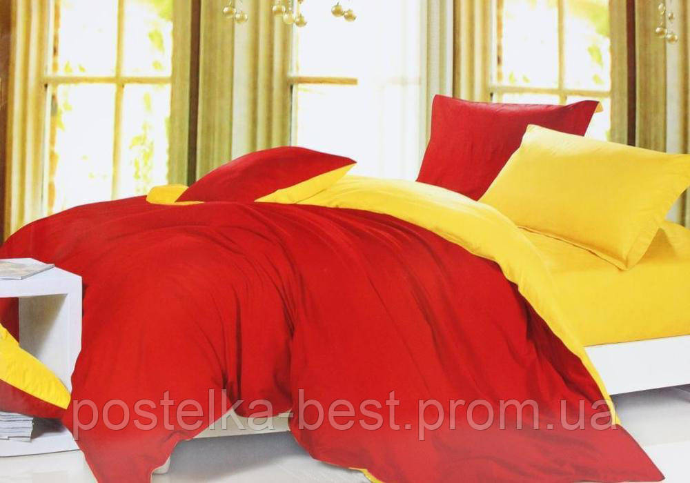 Двуспальный комплект. Красно-желтое постельное постельное белье Простыня на резинке