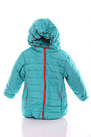 Куртка Евро для девочки бирюзовая с коралловым