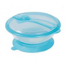 Тарелка с крышкой и ложкой на присоске объем 400мл (тм Линдо)