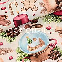 Хлопковая ткань Праздничные украшения беж, фото 1