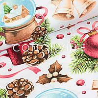 Хлопковая ткань Праздничные украшения белая, фото 1