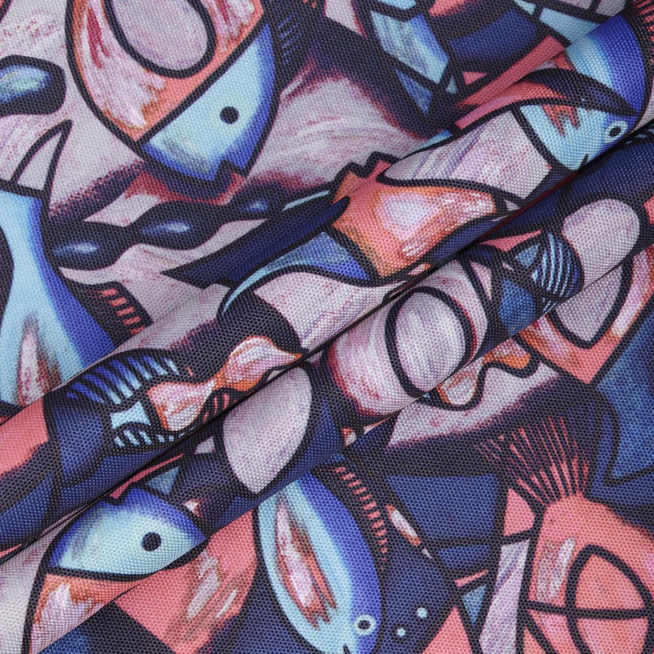 Ткань Дизайн 900D ПУ РЫБЫ Синий
