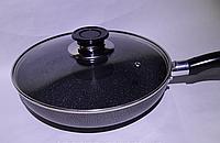 Frying Pan WX-2405 Wimpex Teflon, Алюминиевая сковорода, Сковородка с антипригарным покрытием с крышкой 24 см