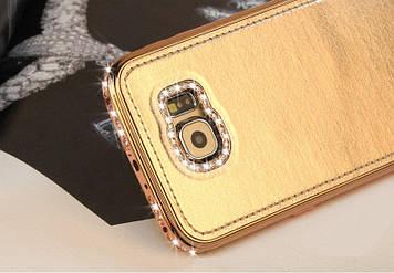 "Samsung S6 G920 металлический алюминиевый чехол бампер рамка со стразами камнями + кожа  ""ROYAL SHINE"""