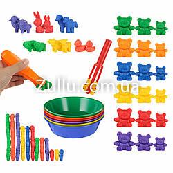 """Набор для сортировки с тарелочками """"Изучаем размер"""" (42 фигурки, 6 тарелок, 2 щипца)"""