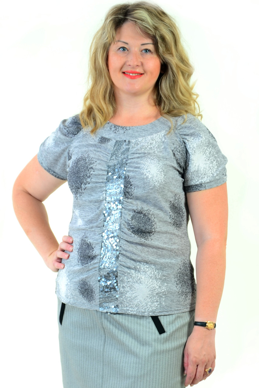 Сіра туніка з пайеткой нарядна блузка сталевого кольору ,48,50,52,54( БЛ 628-1)