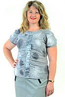 Серая туника с пайеткой  нарядная блузка стального цвета ,48,50,52,54( БЛ 628-1)