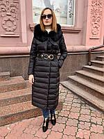 Пуховик длинный в стиле  Cerruti с мехом на капюшоне черный, фото 1