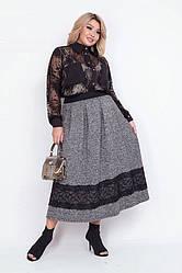 Теплая женская юбка с кружевом 0244
