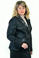 Жакет женский черный, большие размеры,классический  с вышивкой,Жк 011,50,52,54,56.