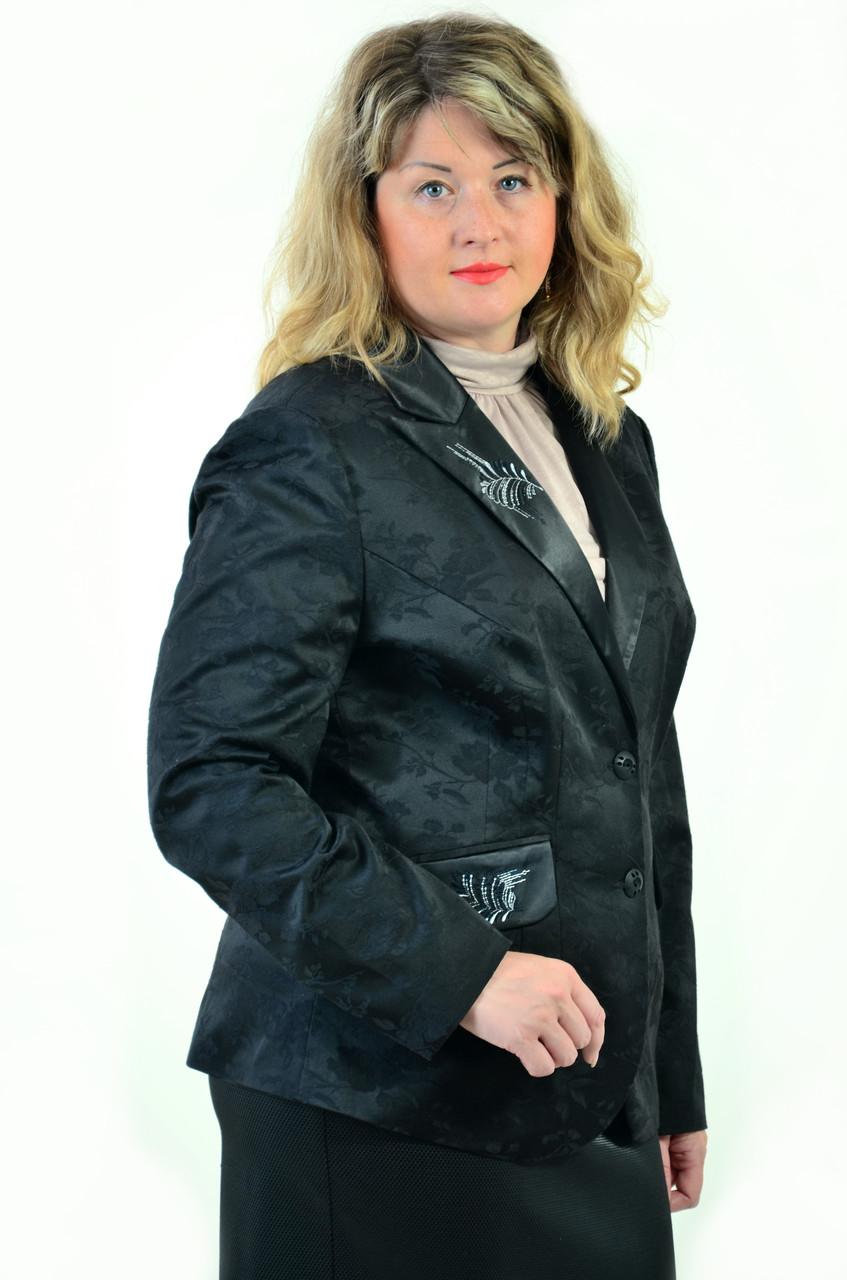 Жакет женский черный, большие размеры,классический  с вышивкой, Жк 011, 50,52,54,56.