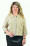 Жакет жіночий болеро,бежевий, великі розміри,класичний з лляним мереживом,Рк 011,46,48,50,52., фото 3