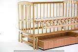 """Кровать детская """"VALERI Валери» на подшипниках с откидной боковиной с ящиком (600 * 1200) (бук), фото 2"""