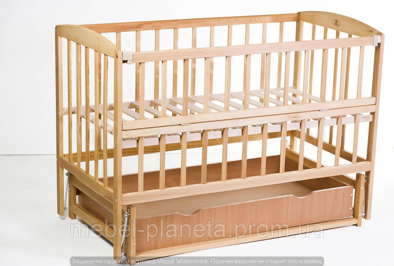 """Кровать детская """"VALERI Валери» на подшипниках с откидной боковиной с ящиком (600 * 1200) (бук)"""