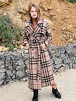 Женское длинное шерстяное пальто в клетку размеры SM и LXL