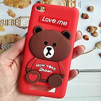 3D Чехол Xiaomi Redmi 4A Мишка Love me Красный