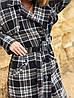 Черное шерстяное двубортное пальто-тренч в клетку на осень размеры SM и LXL, фото 4