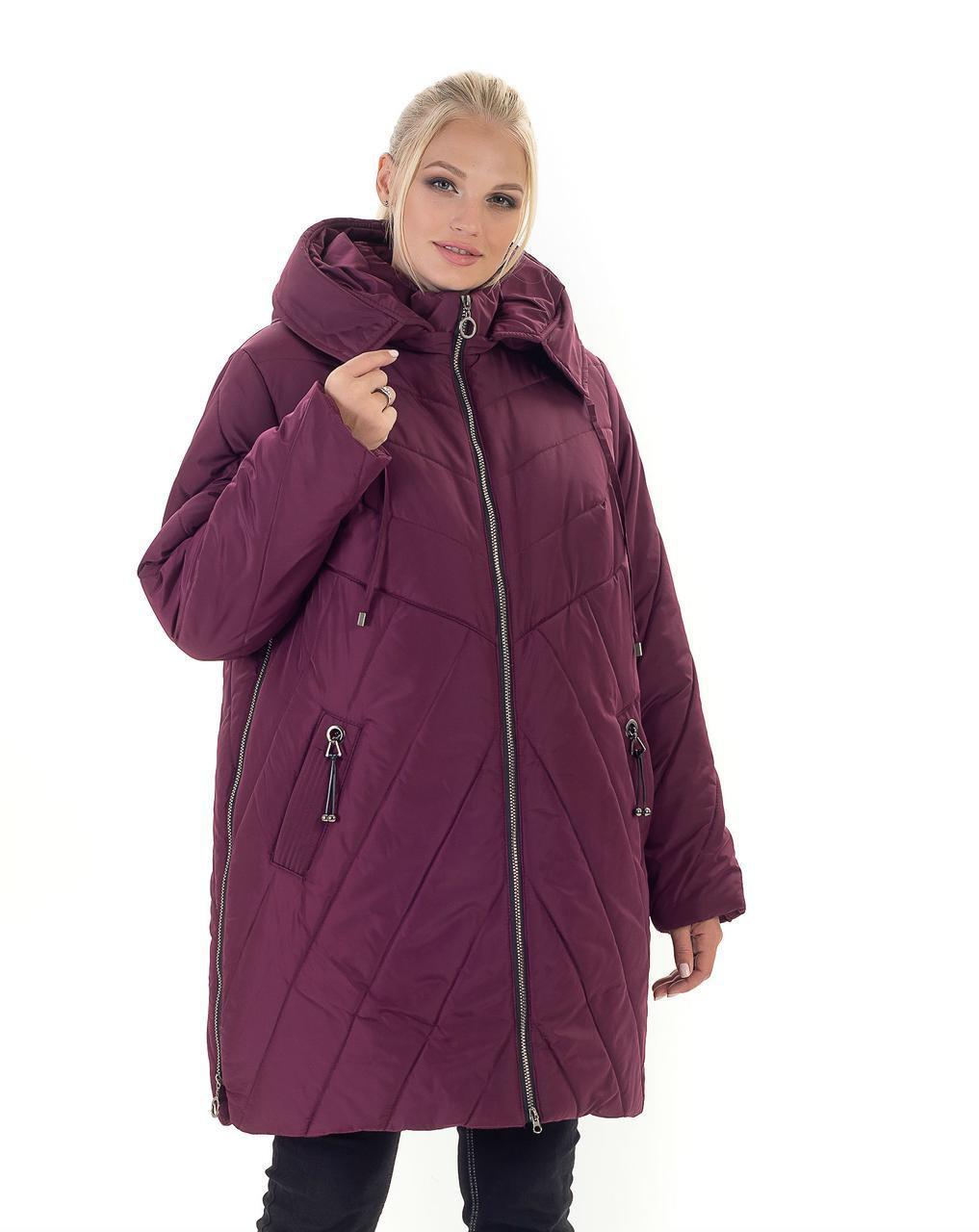 Модная зимняя женская куртка  со змейками по бокам  батал с 56 по 70 размер