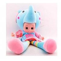 Кукла мяконабивна в костюме слоненка. Глаза открываются на батарейках мелодиии45 * 25 * 22