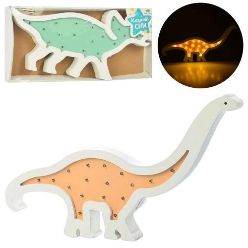 Ночник Деревянная игрушка MD 2079 динозавр 2 вида свет бат. корр. 38-19-3 5 см.
