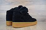 Женские зимние кроссовки Nike Air Force (черно-коричневые), фото 2
