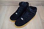 Женские зимние кроссовки Nike Air Force (черно-коричневые), фото 5