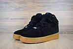 Женские зимние кроссовки Nike Air Force (черно-коричневые), фото 8