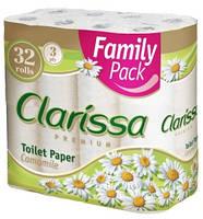 Clarissa туалетная бумага Ромашка 3-х слойная, 32 шт.
