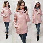 Короткое пальто женское с капюшоном, модель  156, розовый