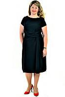 Платье женское , черное, интернет магазин женской одежды,  драпировка , хлопок, по колено, пл 154-1.