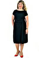 Платье женское , черное, интернет магазин женской одежды,  драпировка , хлопок, по колено, пл 154-1. 46 Черный