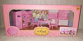 Кукольная мебель — Кухня холодильник, плита, мойка, посуда, подарочная упаковка