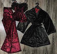Велюровый комплект халат и пижама с штанами с кружевом, одежда для дома