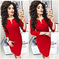 Платье с булавкой ( арт. 805 ), ткань креп, цвет красный