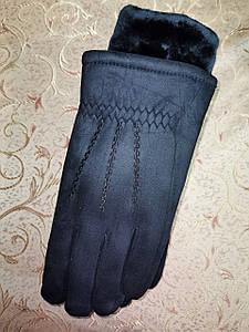 Замш з мех чорний рукавички чоловічі тільки оптом