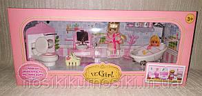 Кукольная мебель — Ванная комната, куколка, ванна, унитаз, умывальник